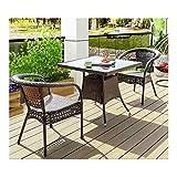 Conjunto de bistró de ratán con sillas de mesa de Sets de muebles de jardín de ratán conjuntos de patio y sillas conjuntos de patio invernadero interior al aire libre para jardín al aire libre junto