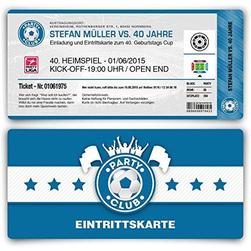 Einladungskarten zum Geburtstag (30 Stück) als Fußballticket Karte Fussball Einladung Ticket in Blau