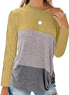 Makulas Pullover for Women Plus Size Crew Neck Colorblock Fashion Tunics Casual T-Shirt Loose Blouse Comfy Sweatshirt