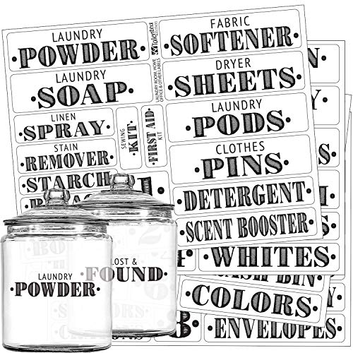 Laundry Room & Home Office Preprinted Labels, Organization Set. 72 Clear PVC Stickers by Talented Kitchen. 72 Water Resistant Labels to Organize Office & Laundry (Set of 72 - Laundry & Office Titles)