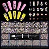 3100Pcs Nail Crystal Rhinestones Kit, EBANKU Professional AB Rhinestones for Nails Mixed Shape...