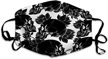 ETHAICO Fillter Cloth for Adult and Kids,Skull with Flowers,Reusable Windproof Cloth Half Face Double Protection