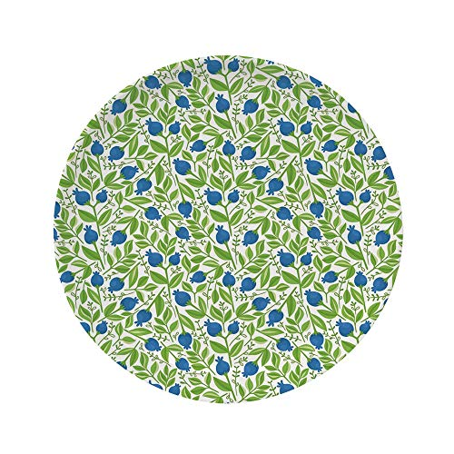 Ylljy00 Fruits 8' Dinner Plate,Flowering Blueberry Blossoms Vivid Leaf Branches Nature Plants Design Ceramic Decorative Plates,Dining Table Tabletop Home Decor,Violet Blue Lime Green