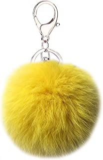Cute Rabbit Fur Ball Pom Pom Keychain Cityelf Car Key Ring Handbag Tote Bag Pendant Purse Charm