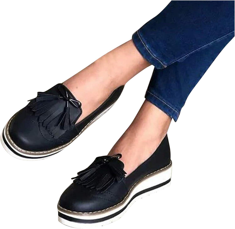 NIMIZIA Walking Shoes for Women Casual Round Toe Tassel Lace Canvas Flat Comfortable Walking Shoes for Women