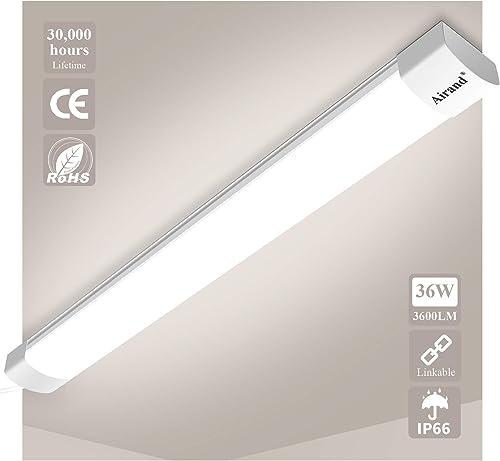 Airand Linkable Neon Led 120cm 36W 3600LM Tube Led Plafonnier Reglette Étanche IP66 Lampe Fluorescent Tubes Lumière G...