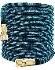 PHYSEN Elastyczny wąż ogrodowy 15 m, rozciągliwy wąż wodny, 3/4 cala i 1/2 cala mosiężny adapter do nawadniania ogrodu i czyszczenia