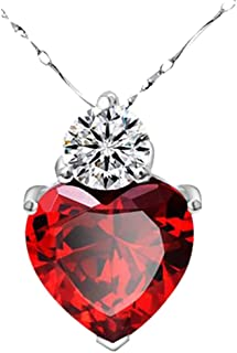 Gbell Clearance! Red Garnet Heart Pendant 925 Silver Necklace - Valentine Crystal Chain Jewelry Charm Birthday Gifts for Girls Women Lady