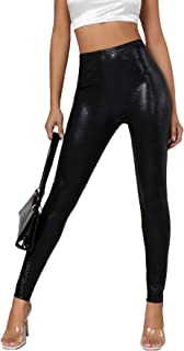 Romwe Women's Faux Leather Leggings Stretch High Waisted Skinny Pants