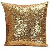 Yohope Funda de cojín cuadrada para sofá, 40 x 40 cm (dorado)