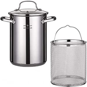 HEMOTON Stainless Steel Fry Pot with Lid and Basket Stove Top Deep Fryer