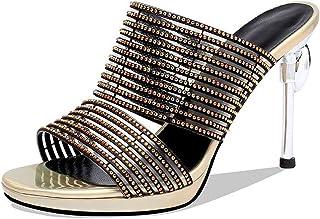 BIAN Slippers for Women Heeled Slip-on Stilettos Heel Rhinestone Decoration Bands Microfiber Uper Breathable Antislip Sole
