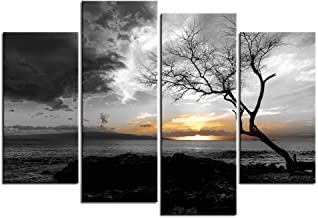 LevvArts - 4 Panel Black and White Canvas Print Wall Art Lonely Tree in Sunrise Picture Ocean Seacape Painting Modern Home Ofiice Wall Decor Framed and Ready to Hang