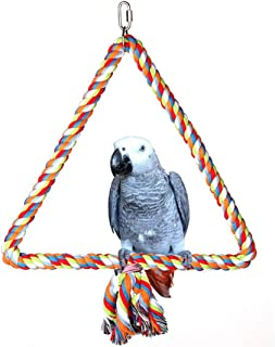 Spoiled Pet Large Triangle Cotton Bird Rope Swing Perch - Made with All Natural Materials - Safe to Climb and Chew - Great for African Grey Parrots, Cockatiels, Parakeets, and Cockatoos