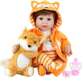 Aori Reborn Baby Doll 22 Inch Realistic Lifelike Baby Doll Weighted Reborn Baby Girl with Fox Set for Girl Age 3