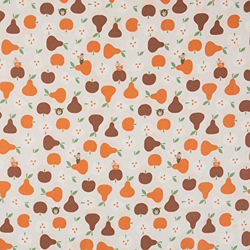 Vinylla - Tovaglia cerata in cotone rivestito in vinile, facile da pulire, motivo: mele e pere, Vinile Cotone, Round(Dia.140 cm)