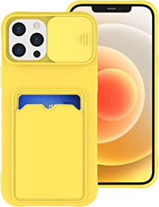 Tnarru iPhone 12 Pro Max Case with Card Holder Soft Liquid Silicon Scratch-Resistant Camera Cover Slide Lens Protective Case for iPhone 12 Pro Max (Yellow)