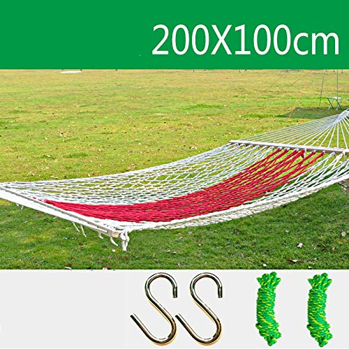Zhangmeiren Outdoor Mesh Hammock Single Bold Interior Home Chair Double Cradle Bed Nets Adult Rocker Swing Hanging Chair (Color : Red)