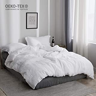 Simple&Opulence 100% Stone Washed Linen Solid Color Basic Style King Queen Twin Full Duvet Cover Sets (White, King)