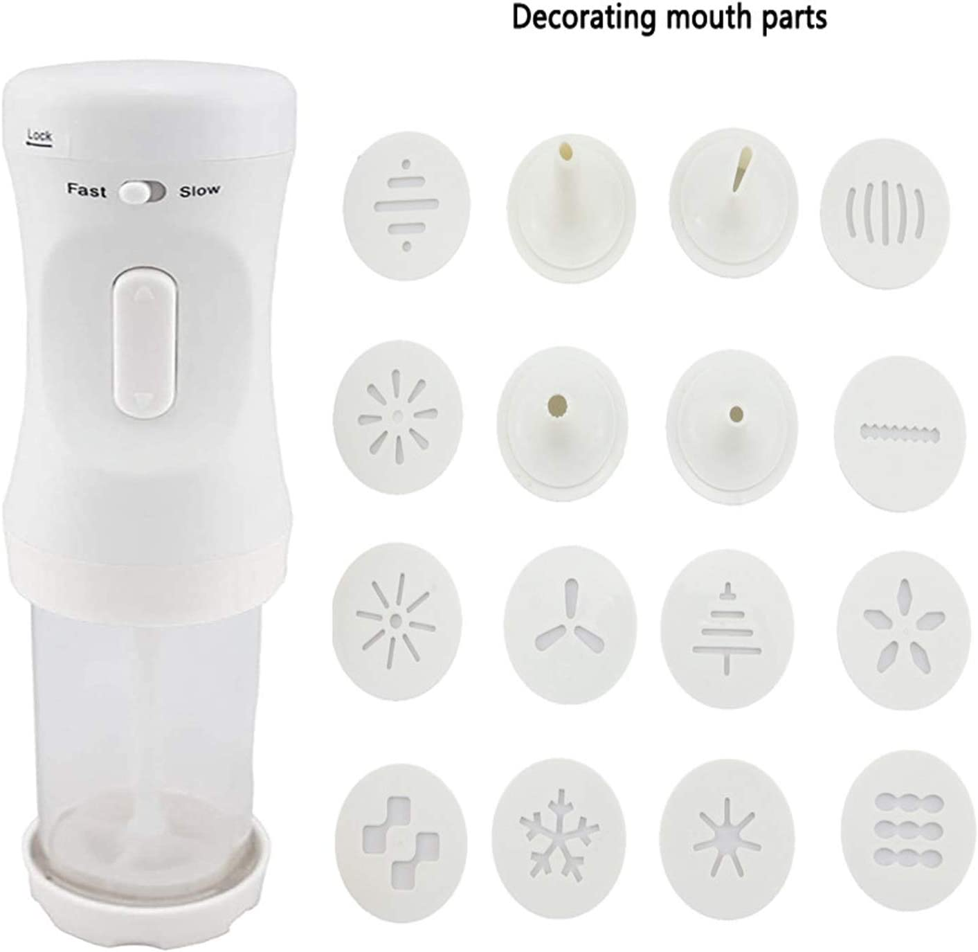Electric Cookie Press Gun,Electric Wireless Handheld Cookie Maker Kit with 12 Press Stencil Discs And 4 Nozzle Perfect for DIY Cookie Maker and Cake Icing Decoration Tool White