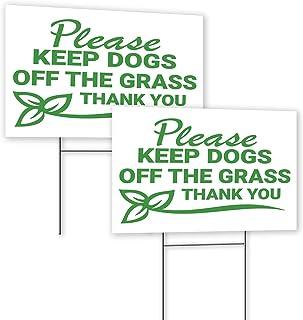 "Keep Off Grass Sign 8""X12"" - Plastic Coroplast Yard Signs with Stakes - Stay Off Grass Signs - Keep Dog Off Lawn Signs - G..."