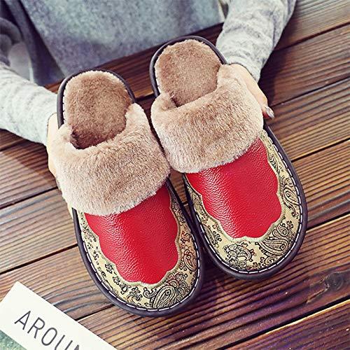 Hausschuhe Slipper Pantoffeln Damenfrauen Winter Warme Hausschuhe Damen Plüsch Flache Schuhe Weibliche Schuhe Indoor Home Nähen Komfortable Bordered Thick Heels Slipper 10 Bigred