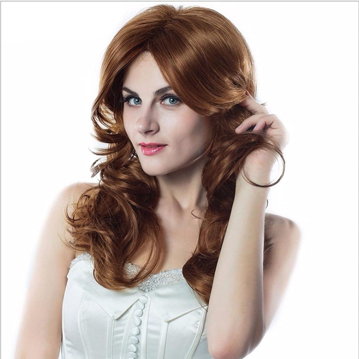 ありそう安定したチーターHOHYLLYA 女性のかつらのための長い大きな波状の巻き毛のかつら自然色ゴールド斜め前髪かつらコスプレかつら45センチファッションかつら (色 : ゴールド)