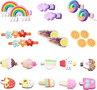 Baby Hair Clips for Girls, 22Pcs Adorable Fun Hair Accessories Cute Candy Color Rainbow Flower Fruit Dessert Patterns Barr...