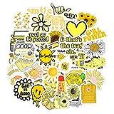 Cute VSCO Stickers for Water Bottles, Water Bottle Stickers for VSCO Girls Teens, 50 Pack Laptop Stickers Trendy Aesthetic Stickers (Yellow Stickers)