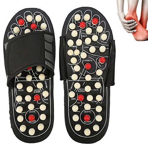 Magnet Therapie Massage Schuhe Fußreflexzonen Akkupressur Blut Aktivierende Gesundheits Massage Pantoffel (40-41-Weiße drehende Punkte)