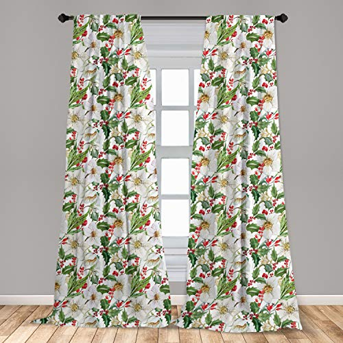 Ambesonne Watercolor Window Curtains, Christmas Themed Floral Poinsettia Winter Inspirations Berries Leaf, Lightweight Decorative Panels Set of 2 with Rod Pocket, 56' x 84', Vermilion Yellow