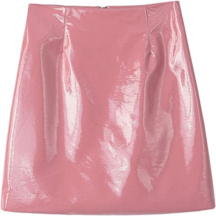 9775a07d22 RoseLily Women's Patent Leather Skirts Outfit Black Bodycon Pencil Metallic  Shiny Wet Look Black Pink Blue