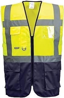 PORTWEST C476   Warschau Warnschutz Weste, 1 Stück, L, gelb/marine, C476YNRL