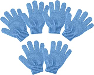 IPOTCH Pack Of 6 Pieces Exfoliating Gloves For Shower, Bath, Exfoliating and Cleansing, 18.5 x 15 cm - Blue