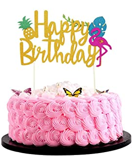 Bsstr Flamingo Pineapple Cake Toppers Happy birthday Cake Tropical Hawaiian Glitter Party Supplies Decorations