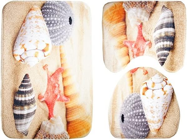 QIAO 3pcs Bathroom Carpet Set Bathroom Anti Slip Set Bath Mat Contour Cover Toilet Cover Carpet For Toilet Conch Pattern