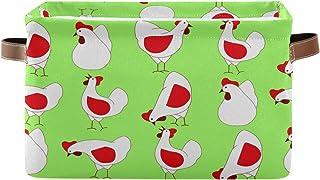 Tropicallife F17 Panier de rangement en toile pliable avec poignée Motif animal de poule Boîte de rangement en tissu pour ...