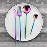 NO LOGO RCKJB Rose Gold Geschirr Sets Spiegel Silber Set Edelstahl 18/10 Besteck Küchenmesser Löffel Besteck West Geschirr Sets (Farbe : 4pcs Rainbow)
