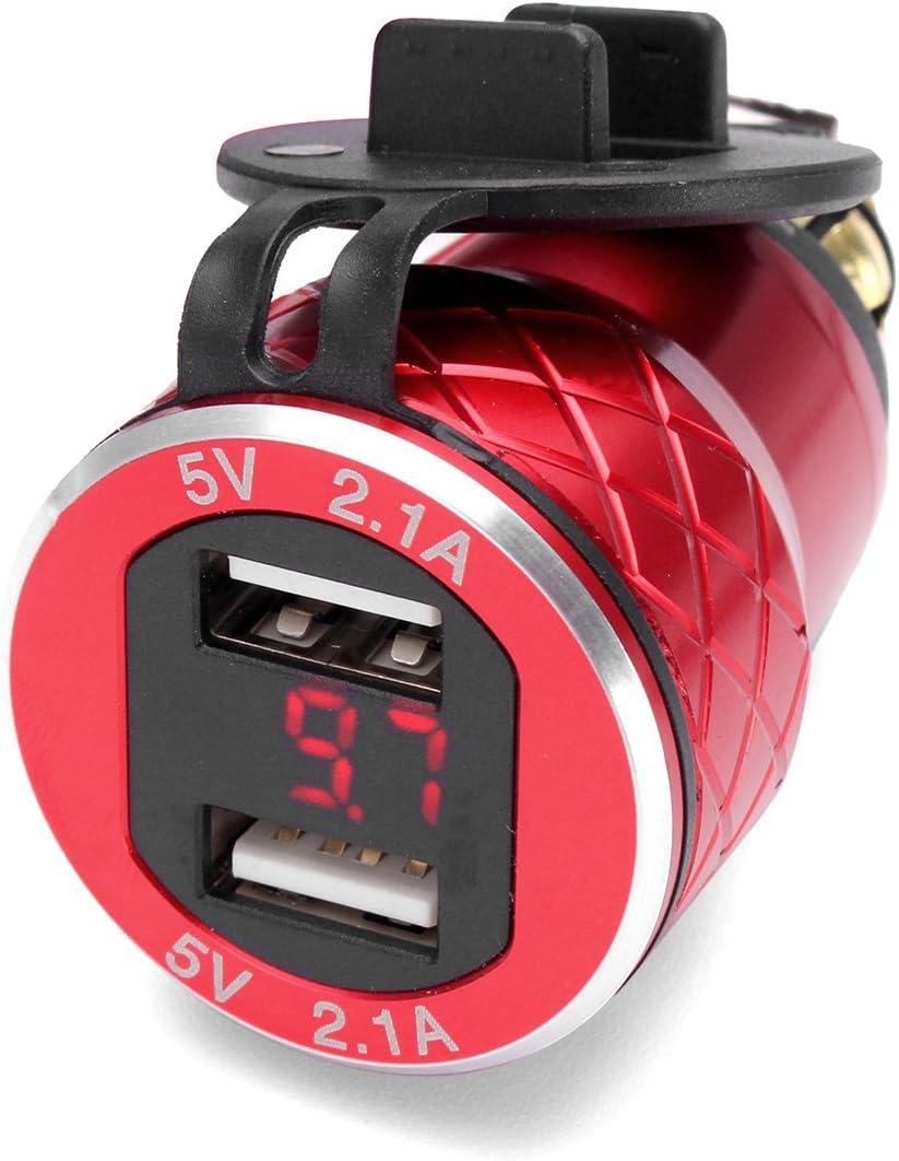 Rot Viviance 12V-24V 4.2A Voltmeter Red Motorcycle Dual USB Charger Din Socket F/ür BMW Motorrad