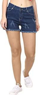 Broadstar Blue Denim Skinny Casual Solid Shorts for Women