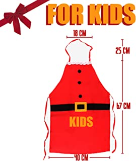 OneCut Christmas Santa Female Apron, Best Gift for Family for Cooking, Baking, Crafting, Gardening and BBQ (Kids)
