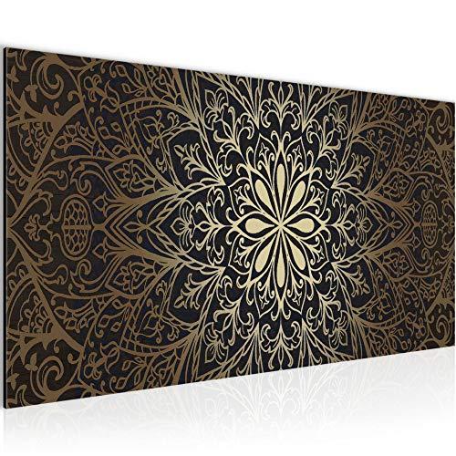 Wandbilder Mandala Abstrakt Modern Vlies Leinwand Wohnzimmer Flur Orientalisch Schwarz Gold 107412a