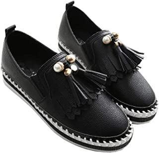 Btrada Women's Loafers Tassels Flats Shoes Lightweight Black White Slip-On Casual Driving Walking Fashion Platform