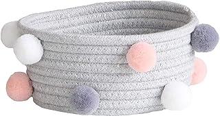LCM Corde de Coton tissé de Bureau cosmétiques Panier de Stockage avec Boule Nordique Style Home SunRey Toys Boîte de Rang...