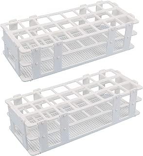Luckkyme Plastic Test Tube Rack 2 Pack 24 Holes Lab Test Tube Rack Holder for 25mm and Below The Test Tubes, Detachable, White 2Pack