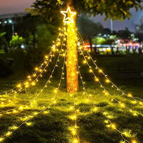 LED Lichterkette Außen WarmWeiß - Außenlichterkette Weihnachtsbeleuchtung Wasserdicht IP44 mit 8 Leuchtmodi, Timer, EU Stecker für Hochzeit, Party, Garten, Bäume Deko
