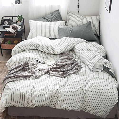 MooMee Bedding Duvet Cover Set 100% Washed Cotton Linen Like Bedding Textured Breathable Durable Soft Comfy (Grey Vertical Stripe on White, Queen)