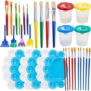 Painting Tool Kits, 34Pcs Paint Supplies Include Paint Cups with Lids Palette Tray Muti Sizes Paint Pen Brushes Set for Ki...