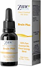 ZANE HELLAS Finest Synergy Blends. Brain Plus. 100% Pure Essential Oils for Focus and Clarity. Perfect for Aromatherapy, E...