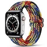 Maledan Correas Compatible con Apple Watch Correa 45mm 44mm 42mm ,Correa de Estirar Elásticos Trenzados Suave de Repuesto Compatible con Apple Watch SE/iWatch Series 6/5/4/3/2/1-Arcoíris